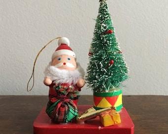 Vintage Wooden Santa Ornament / Bottlebrush Tree / Saxophone Ornament