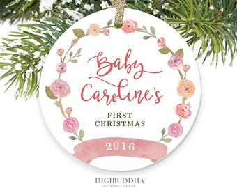 Baby Girl First Christmas Ornament Christmas Baby Girl Ornament Girl Baby's First Christmas Baby's 1st Christmas Ornament Newborn Baby Gift
