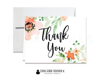 Floral Thank You Cards Folded A2 Thank You Note Cards Wedding Thank You Card Shower Thank You Printed Peach Watercolor Thank You - Kaylee