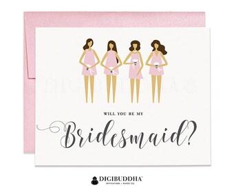 Will You Be My Bridesmaid Card Bridesmaid Proposal Card Blush Pink Bridesmaid Dress Bridesmaid Card Bridal Party Wedding Card Tori CW0018