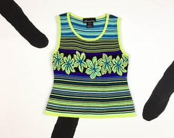 90s Neon Lime and Purple Hibiscus Knit Tank Top / Sweater Vest / Stripe / y2k / Delias / Alloy / Size Medium / Large / Lizzy / Spice Girls