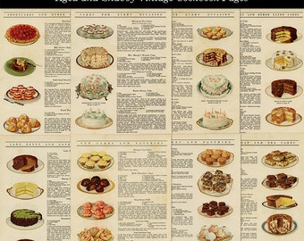 Vintage Aged and Shabby 8 Cookbook Pages Baking Illustrations and Recipes Kitchen Graphics Digital Download JPG