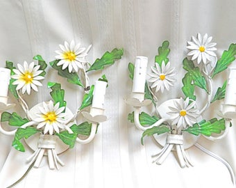 PAIR Vintage Sconces Antique Tole Sconces Italian Toleware Fresh as a Daisy! Ready for Spring by LightsFantastic