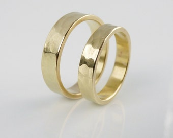 Simple wedding band in gold tone brass. Minimalist his and hers wedding rings.