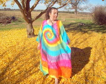 Tie Dye Caftan Poncho, Adult and  Plus Size Tie Dye Dress, Pastel Rainbow Tie Dye, L XL 2X 3X