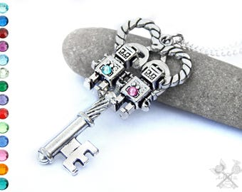 Custom Robot Necklace / Skeleton Key Necklace / Key to my Heart Necklace / Cute Anniversary Gifts / Cute Gifts for Girlfriend / Love Robot