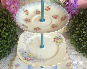 3 tier Floral Blue Cake Stand Bell, Colclough and Royal Albert