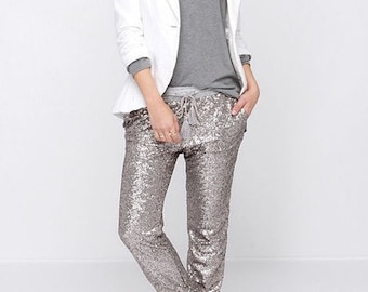 Sequin joggers, sequin sweat pants.