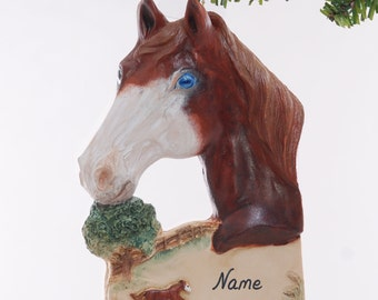 Personalized Horse Christmas ornament - blue eyed sorrel horse ornament personalized with name of your choice (250)
