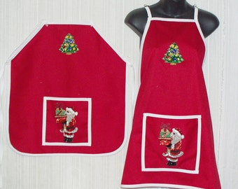 Adult Size Red Cotton Holiday Aprons with Front Pocket with Sequin Santa  and Christmas Tree Appliques and Ties waist and Neck. New