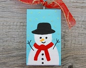 Snowman Ornament, Painted Blue Holiday Ornament Made of Wood, Handmade Christmas Tree Decoration, Christmas Ornament, Primitive Art