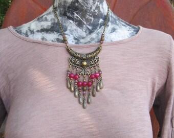 Antique Gold Tone Bib Style Necklace - Gypsy Necklace - Bohemian Necklace - Statement Necklace