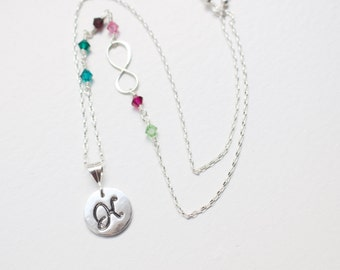 Family Birthstone necklace , Initial Infinity Birthstone Necklace , Birthstone necklace , Monogram , Birthstone jewelry , Mother's Day Gift