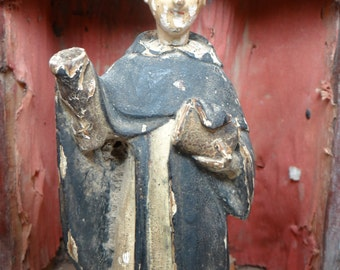 1800's Santos , Antique Hand Carved Saint with Bible on Orb, Vintage Polychrome