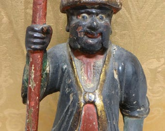 Antique Chinese Temple Guard, Vintage Hand Carved Hand Painted Asian Soldier