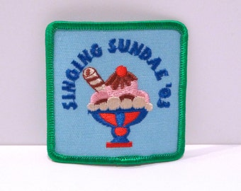 Singing Patch Your Choice Girl Scouts Singing Sundae Embroidered patch Ice Cream Sundae Scouting Love Singing Green Music Notes Cute Sunday