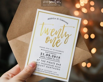 BY303 DIGITAL 21st Birthday Party Invitation - modern minimal hand lettered faux foil stylish invite printable 18th 21st 30th 40th 50th 60th