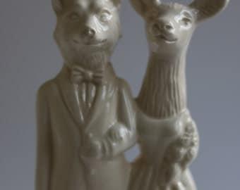 Fox Weds Deer Wedding Cake Topper