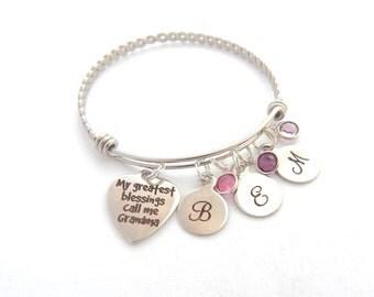 Personalized My Greatest Blessings call me Grandma, Gifts for Grandma, Grandma Bracelet, Grandmother Bracelet, Birthstones Bangle, from kids