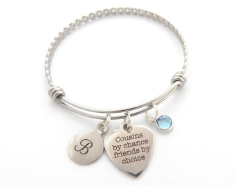 Cousin Gift, Gifts for Cousin, Cousin Bracelet, Cousin Jewelry, Friendship, Best Friend Gifts, Friends by choice, Initial Gifts Big Cousin
