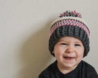 baby hat, crochet baby hat, girls winter hat,  girls hat, hat for girls, pom pom hat,  baby girl hat, crochet baby girl winter hat, winter