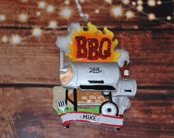 Personalized BBQ Smoker Grill Christmas Ornament