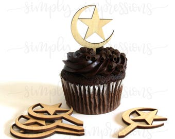 6 Count Wooden Cup Cake Topper Moon and Star 1/8 Thick 9 Finishes.-Ramadan Eid Decoration.