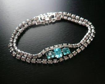 Rhinestone Blue Art Deco Bracelet - Vintage Tennis Bracelet - Something Blue - Bridal Jewelry - Vintage Wedding - Larger Wrist