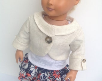 Doll Jacket, skirt, and tank top, fits 18 inch dolls, 3 piece doll outfit, penny lane jacket,