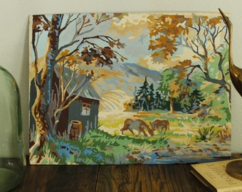 Vintage Paint by number art, landscape, horses, homestead,