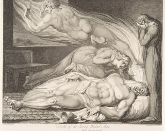 The Engravings of William Blake:  Illustrations for 'The Grave' - Death of the Strong Wicked Man.  Fine Art Reproduction.