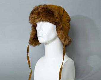 Vintage Fur Trapper Warm Winter Hat Aviator Style Ear Flaps Large 58cm 23""