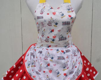 Minnie Mouse Apron, Cute Apron, Pin up Style Apron, Valentine Apron, Cooking Apron, Ready to Ship