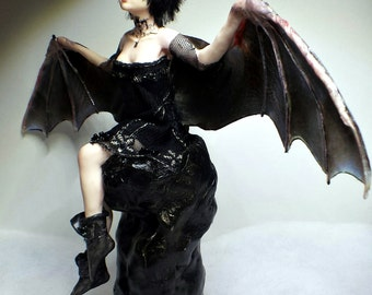 Aurora, OOAK Hand Sculpted Fantasy Bat Winged Fairy Art Doll Collectible