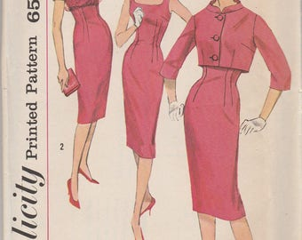 Sophisticated 50s Dress & Jacket Pattern Simplicity 3062 Size 11