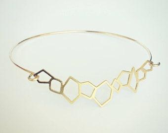 geometric bangle, crystal bangle, gold bangle bracelet, geometric cuff, gold bangle, gold cuff, geomtric jewelry, geomtric accessory