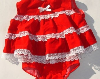 Vintage Red Velvet and Lace Baby Dress with Bloomers - Baby Doll Clothing