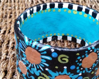 "Gypsy Blues Plus Size Bangle Bracelet Turquoise Black checkerboard sun swirls 3"" wide 9"" interior"