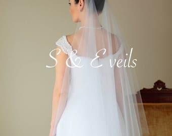 2-Tier DROP VEIL //bridal veil, multi-layer, wedding veil, blusher veil, champagne, blush, diamond white, ivory color