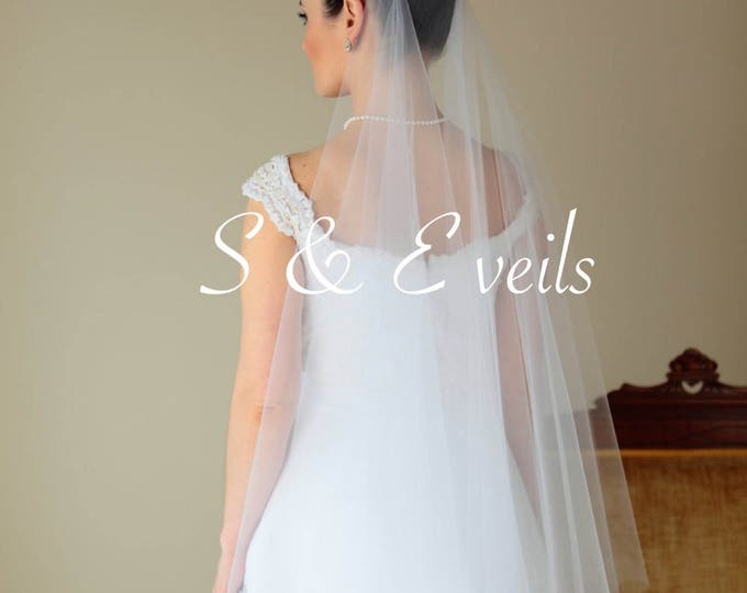 2-Tier DROP VEIL with Brooches, bridal veil, multi-layer, wedding veil, blusher veil, champagne, blush, diamond white, ivory color