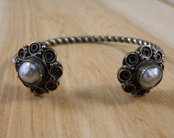 Vintage Sterling Silver and Natural Pearl Victorian Flower Cuff Bracelet / Baroque Pearl Silver Bangle