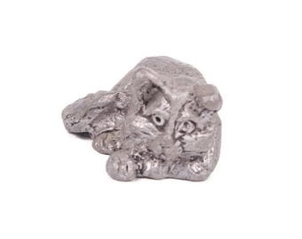 Vintage Miniature Pewter Cat Kitten Figurine Cat Laying Down Paperweight
