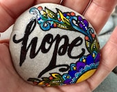 holding on to hope / painted rocks / painted stones / words on stone / word for the year / rock art / paperweights / art on stone / rocks
