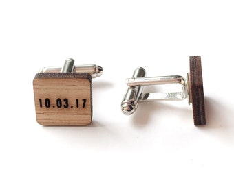Customized cufflinks - Wedding cufflinks - Date cufflinks - lasercut wooden cufflinks - 5 year anniversary - groom cufflinks