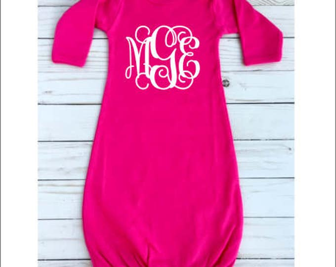 Monogram Baby Gown Personalized Infant Sleeping Gown New Baby Girl Hot Pink Gown Baby Shower Gift Vine Monogram Gown 0-3 Months
