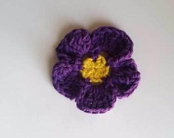 Purple Pansy Crochet Hair Clip - READY TO SHIP