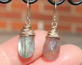 "Fine Silver Wrapped Labradorite Approximately 1 1/4"" with Sterling Silver Hooks"