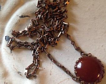 Carnelian Necklace. Vintage Carnelian Glass Stone Cabochon. Long Vintage Chain. Aged Brass Setting.