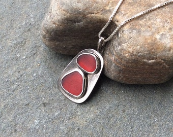 Sea glass jewelry, Rare red sea glass and sterling silver pendant necklace