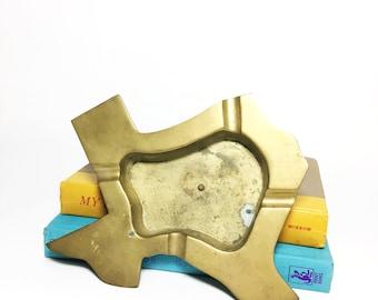 Brass Texas Shaped Tray - Texas Ashtray - Desk Accessory - Rustic Office Decor - Souvenir - Texas Pride - Weed Ashtray - Texas Themed Decor